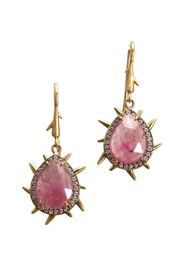 Yellow Gold Ruby Diamond Dangle Earrings
