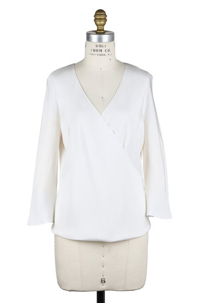 Peter Cohen - White Silk Cross-Over Drape Front Blouse