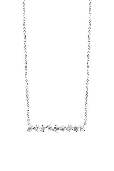 Kimberly McDonald - 18K White Gold Irregular Diamond Bar Necklace