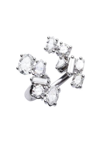 Kimberly McDonald - White Gold White Diamond Finger Cuff Ring