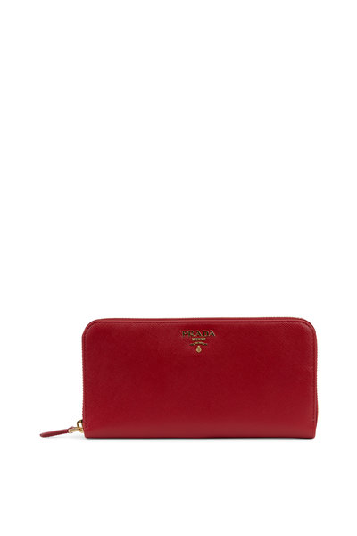 Prada - Red Saffiano Zip-Around  Wallet