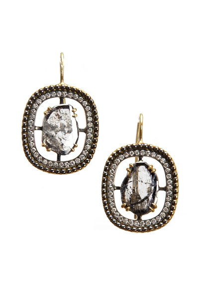 Sylva & Cie - Yellow Gold Diamond Slice Earrings