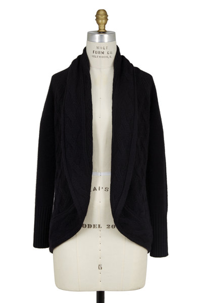 Kinross - Black Cashmere Mix Stitch Open Front Cardigan