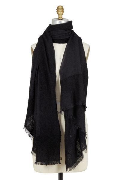 Kinross - Black Chenille Border Cashmere & Silk Scarf