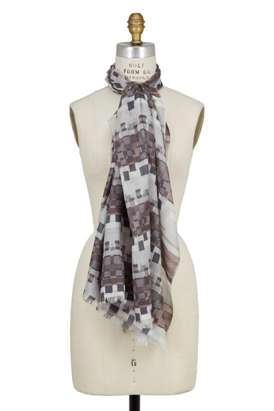Kinross - Dove Abstract Print Cashmere & Silk Scarf