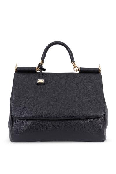 Dolce & Gabbana - Miss Sicily Black Cervo Leather Soft Satchel