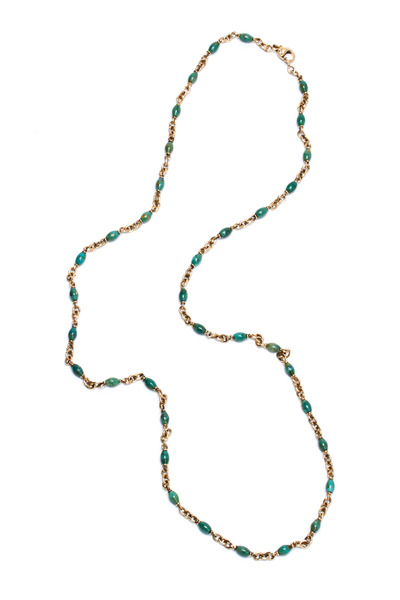 Sylva & Cie - 14K Yellow Gold Turquoise Bead Necklace