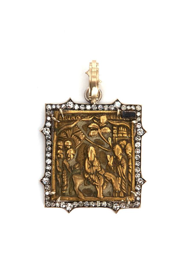 Gold Russian Icon Diamond Pendant