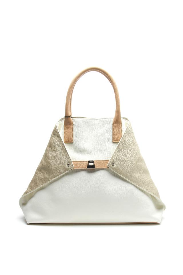 Ai Cervo White & Natural Leather Medium Tote