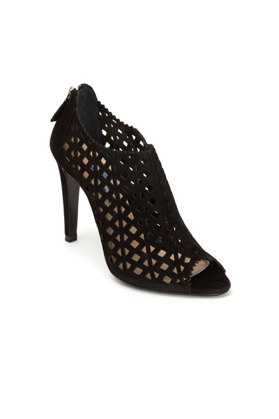 Prada - Black Suede Perforated Short Ankle Boots