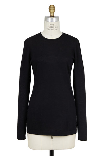 Kinross - Black Cashmere Long Sleeve Crewneck Sweater