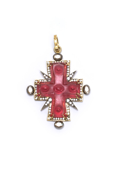 Sylva & Cie - Gold Intaglio Cross Diamond Pendant