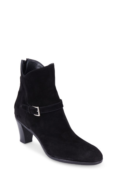 Gravati - Black Suede Buckled Ankle Boot, 70mm