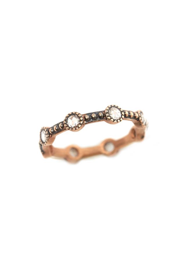 Rose Gold Rose-Cut Diamond Mini Caviar Ring