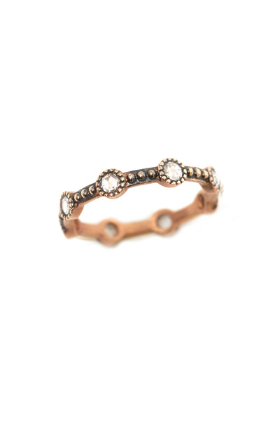 Sylva & Cie - Rose Gold Rose-Cut Diamond Mini Caviar Ring