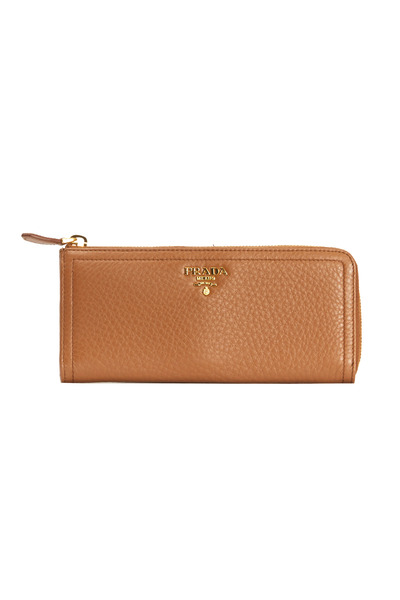 Prada - Continental Cuoio Pebbled Leather ¾ Zip Wallet