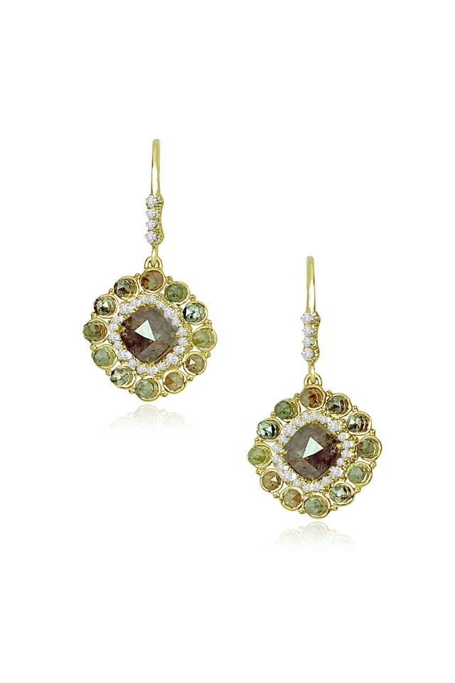 Gold Rough & White Diamond Dangle Earrings