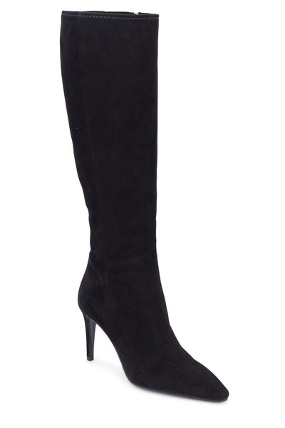 Prada - Black Suede Knee High Boot, 85mm
