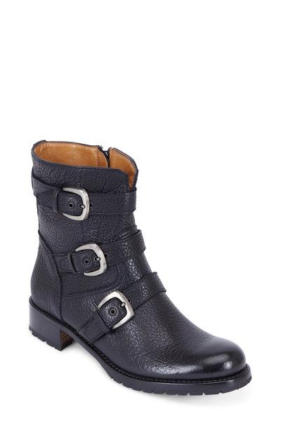 Gravati - Black Leather Three Buckle Moto Ankle Boot