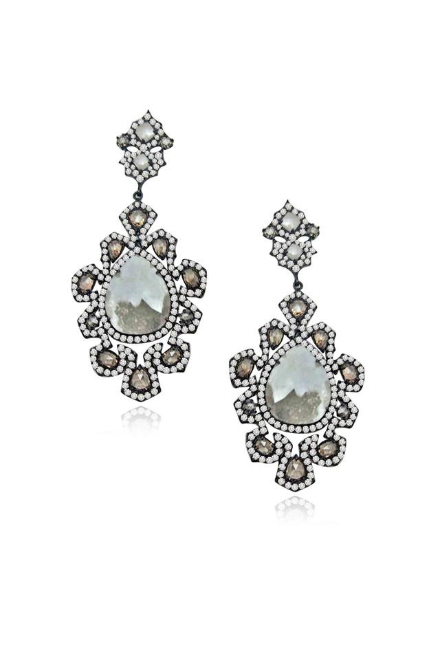 White Gold Rough Diamond Flower Earrings