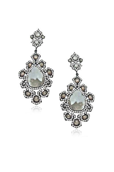 Sutra - White Gold Rough Diamond Flower Earrings
