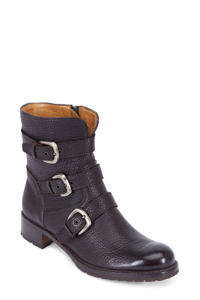 Gravati - Brown Grained Leather Three Buckle Moto Ankle Boot