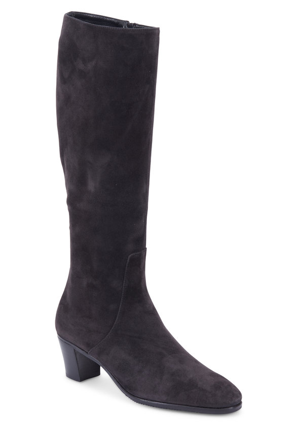 Gravati Charcoal Gray Suede Tall Boot, 50mm