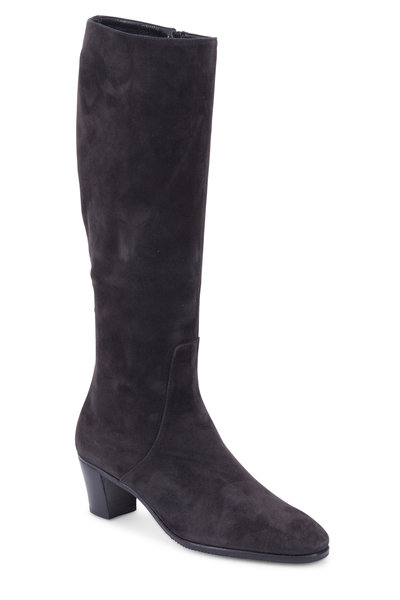 Gravati - Charcoal Gray Suede Tall Boot, 50mm