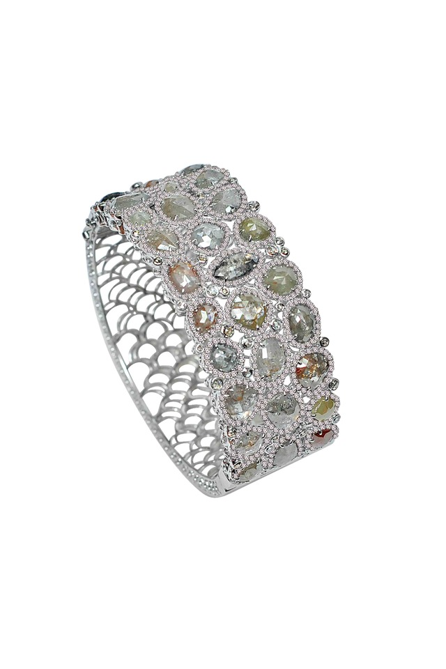 White Gold Rough Diamond Bangle Bracelet