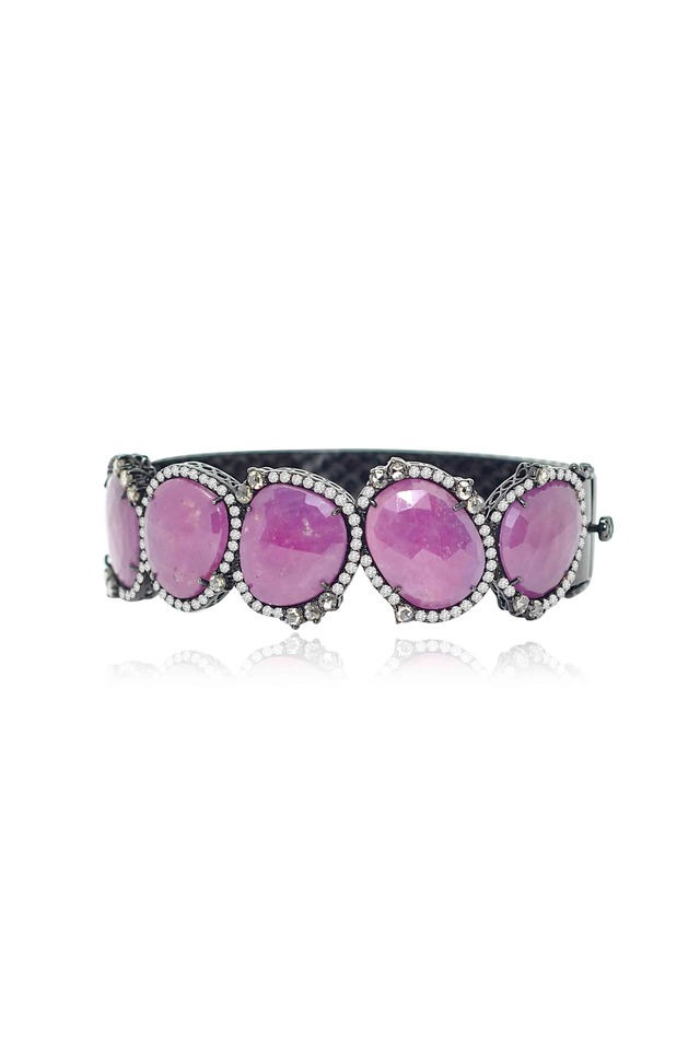 Wide Rough Sapphire & Diamond Bracelet
