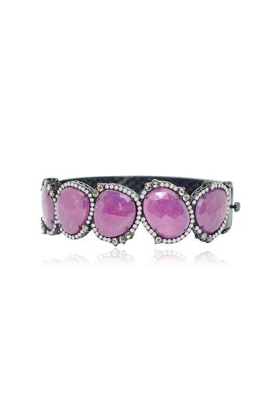 Sutra - Wide Rough Sapphire & Diamond Bracelet