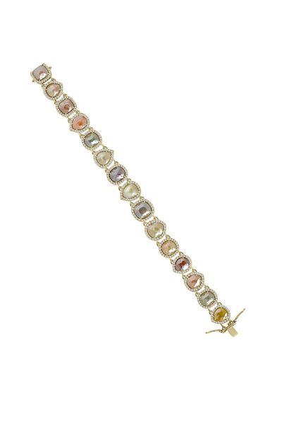Sutra - White Gold Rough Diamond Line Bracelet