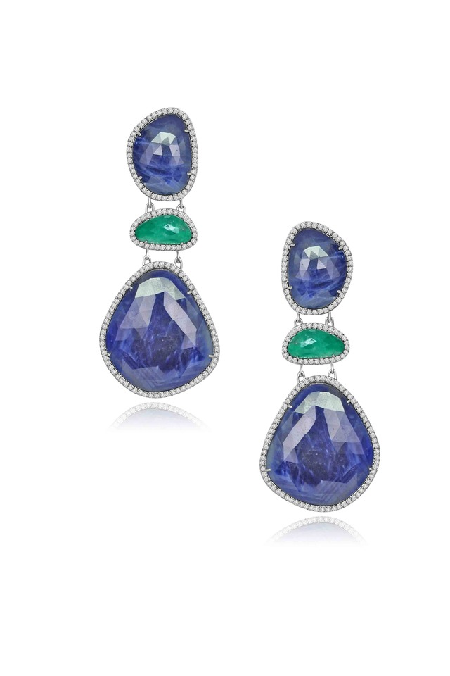 Rough Sapphire & Emerald Diamond Earrings