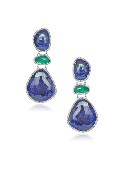 Sutra - Rough Sapphire & Emerald Diamond Earrings