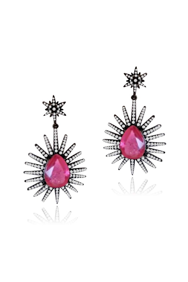 Platinum Pink Tourmaline Diamond Star Earrings
