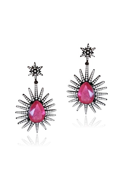 Sutra - Platinum Pink Tourmaline Diamond Star Earrings