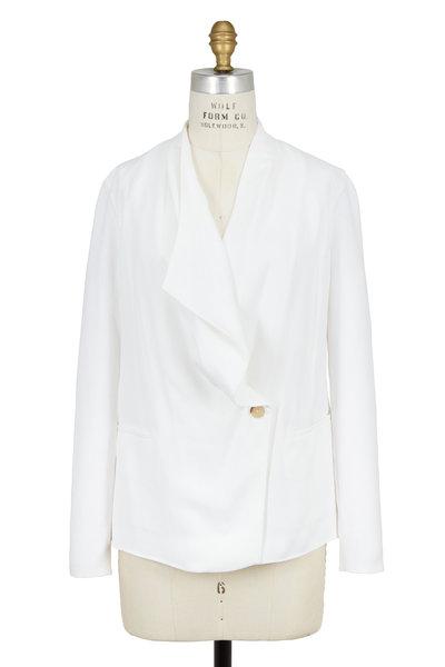 Vince - Optic White Ribbed Sleeve Drape-Front Jacket