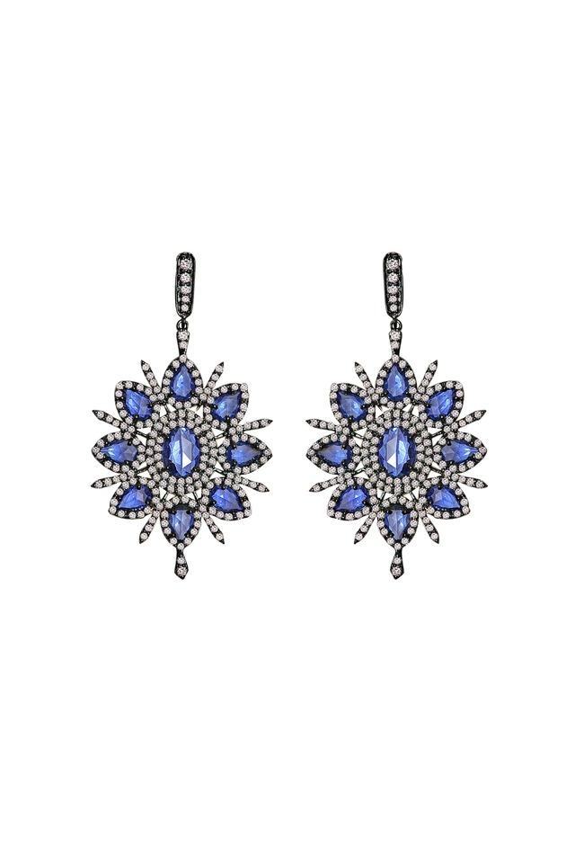 Sapphire Diamond Flower Earrings
