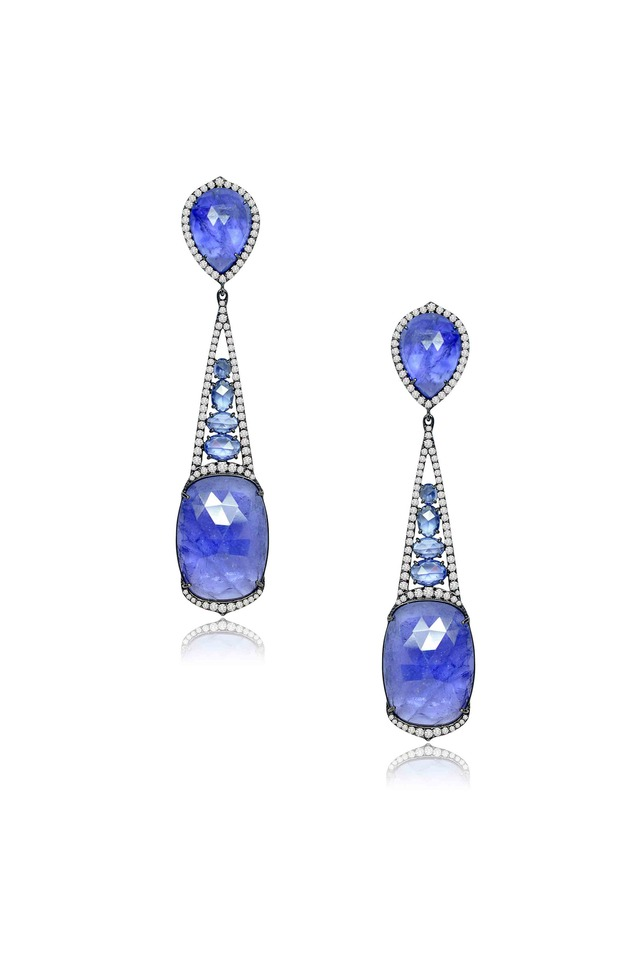 Blue Rough Sapphire Diamond Earrings