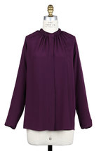Lanvin - Currant Silk Gathered Neck Blouse