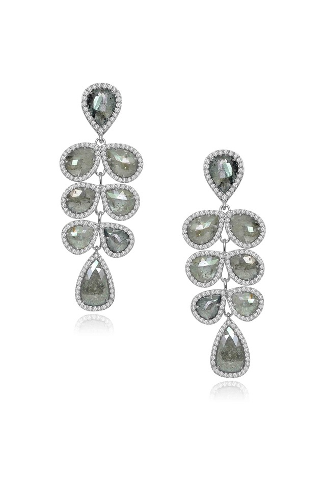 White Gold Rough Diamond Chandelier Earrings