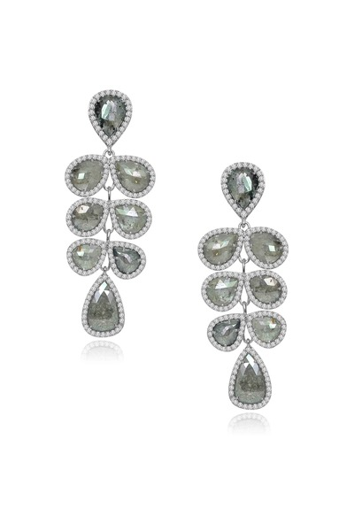 Sutra - White Gold Rough Diamond Chandelier Earrings