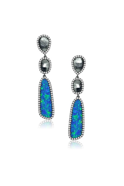 Sutra - Opal & Rough Diamond Earrings