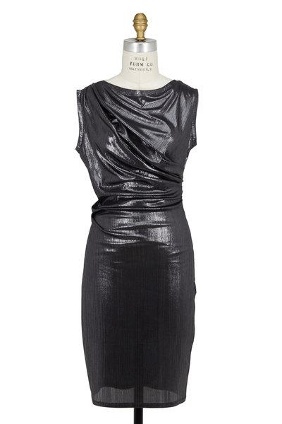Talbot Runhof - Silver Lamé Draped Slinky Dress