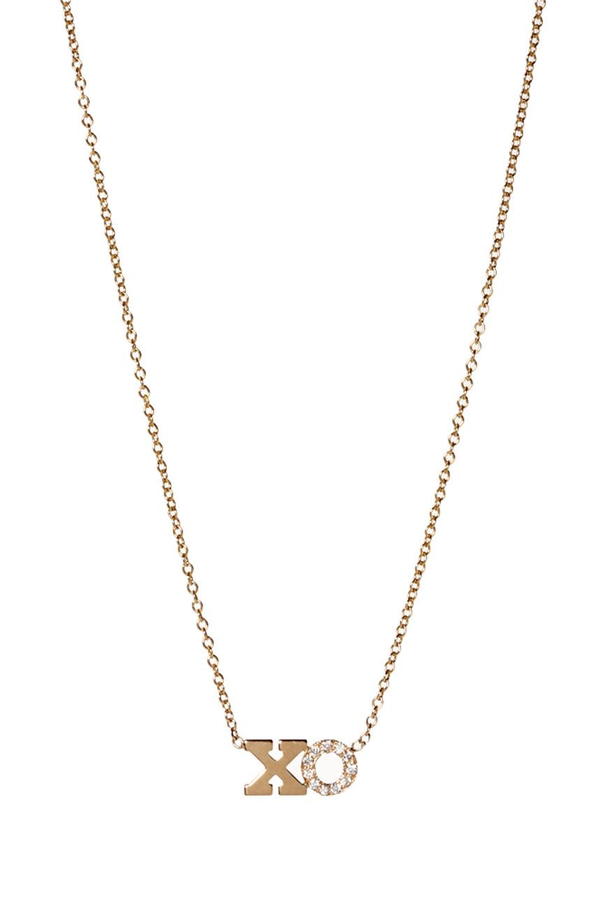 "Yellow Gold Pave Diamond ""XO"" Necklace"