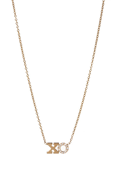 "Zoe Chicco - Yellow Gold Pave Diamond ""XO"" Necklace"