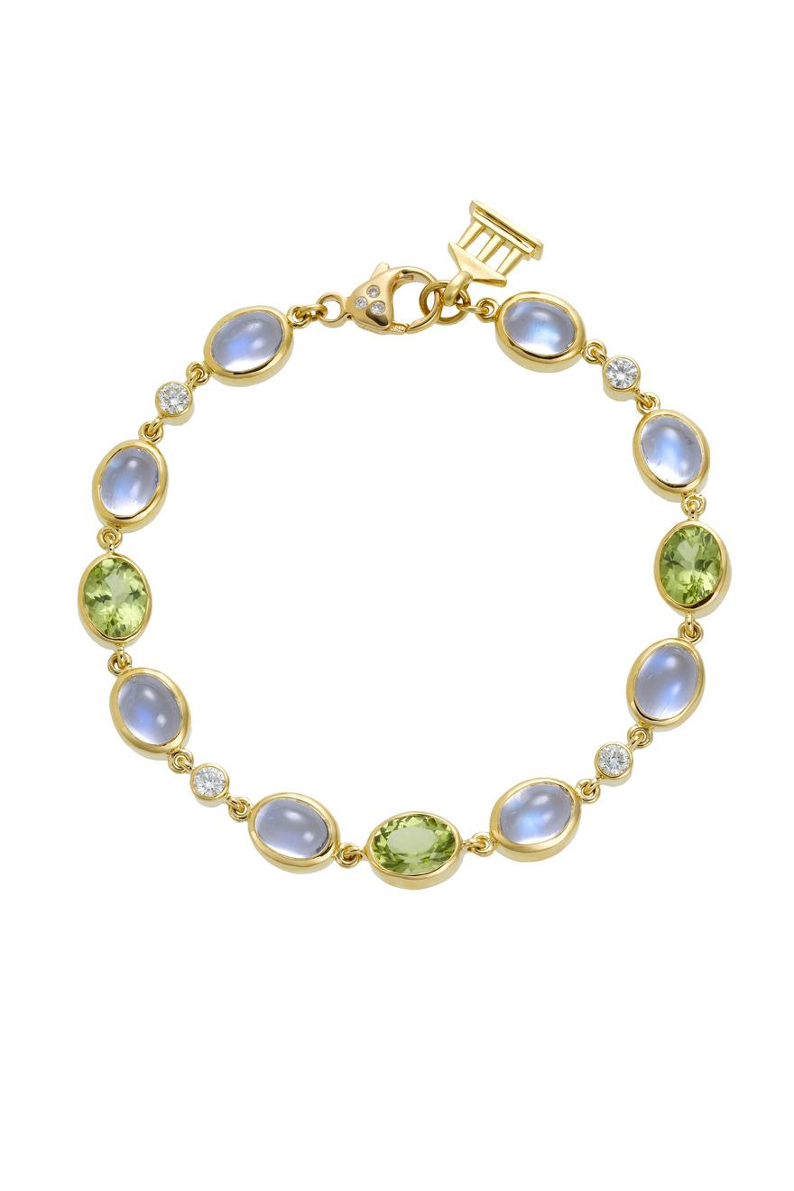 Oval Blue Moonstone Peridot Diamond Bracelet