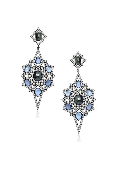Sutra - Blue Sapphire Diamond Earrings