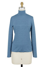 Emporio Armani - Light Blue Jersey Long Sleeve Turtleneck