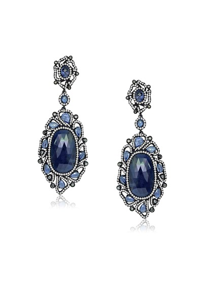Sutra - Rough Sapphire Diamond Earrings